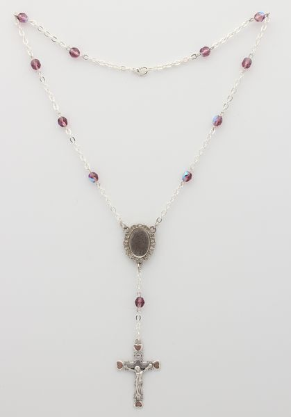 PHOTOGRAPHIC MYSTERY CRYSTAL NECKLACE 6MM BURGUNDY