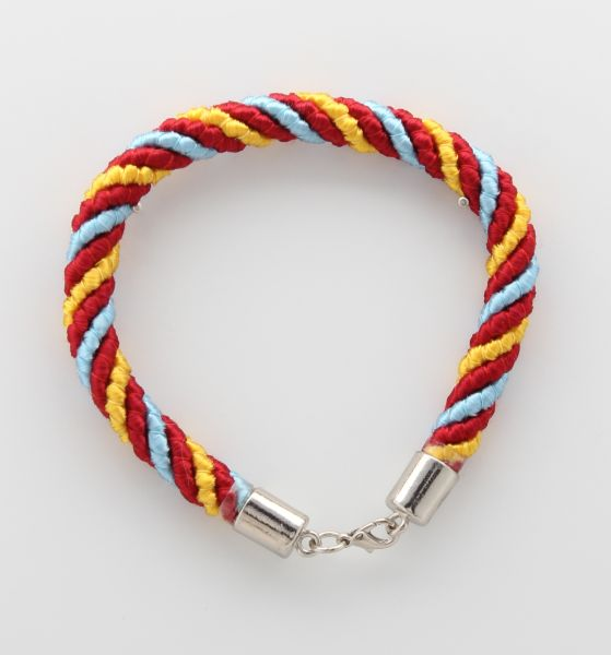 BRACELET CORD THREE STRANDS 1 LIGHT BLUE, 1 RED, 1 YELLOW
