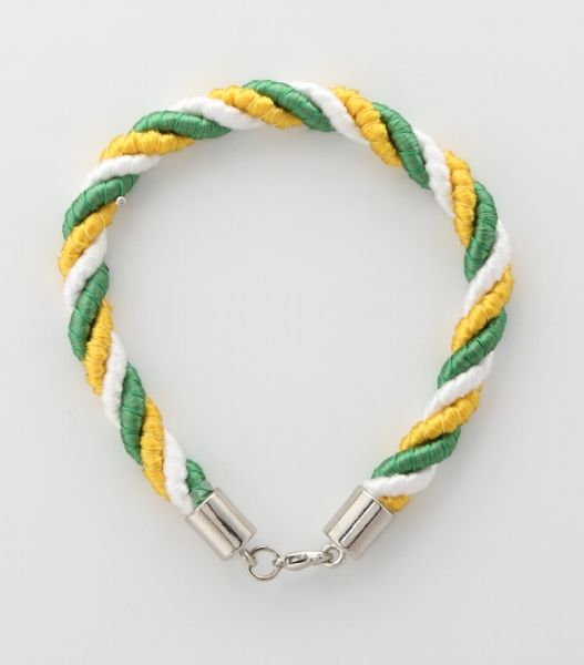 BRACELET CORD THREE STRANDS 1 EMERALD GREEN, 1 YELLOW, 1 WHITE