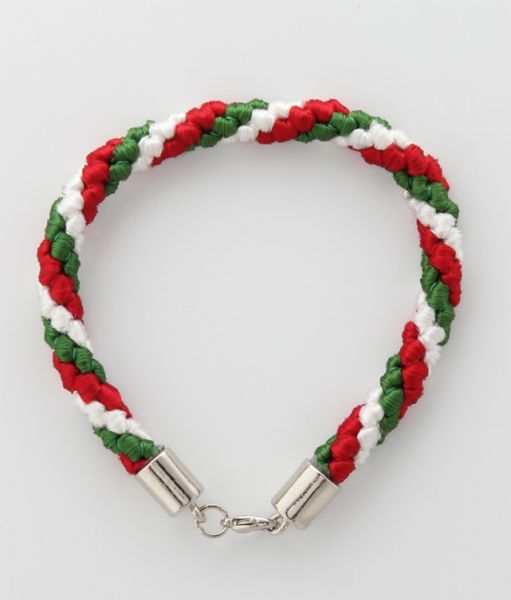 BRACELET CORD THREE STRANDS 1 EMERALD GREEN, 1 RED, 1 WHITE