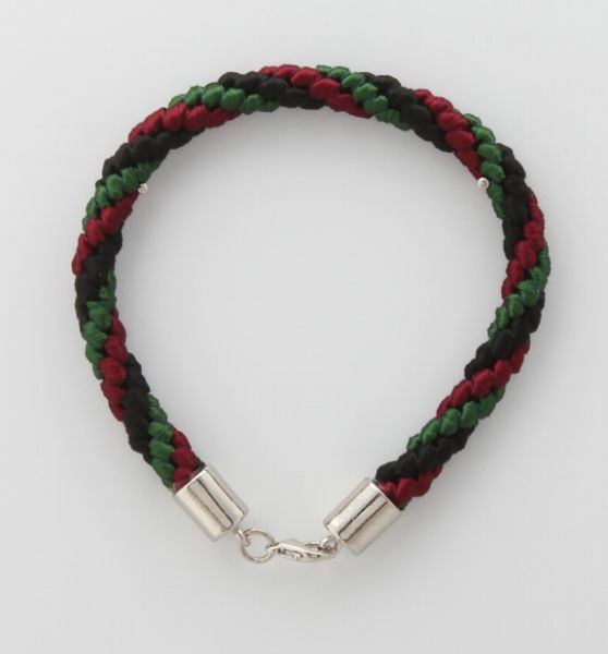 BRACELET CORD THREE STRANDS 1 EMERALD GREEN, 1 RED, 1 BLACK