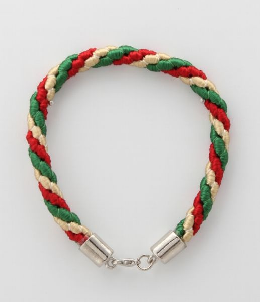 BRACELET CORD THREE STRANDS 1 EMERALD GREEN, 1 RED, 1 OLD GOLD
