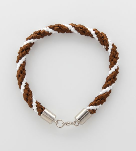 BRACELET CORD THREE STRANDS 2 BROWN, 1 WHITE