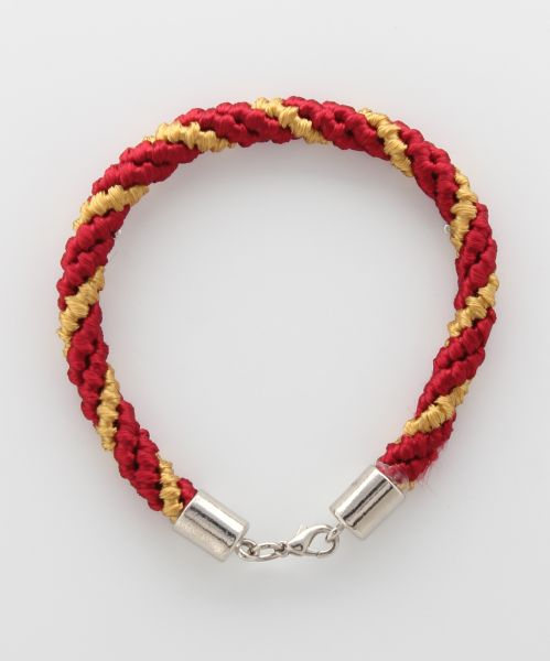 BRACELET CORD THREE STRANDS 2 RED, 1 OLD GOLD