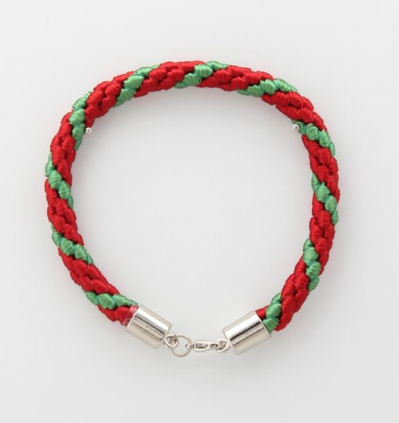 BRACELET CORD THREE STRANDS 2 RED, 1 EMERALD GREEN