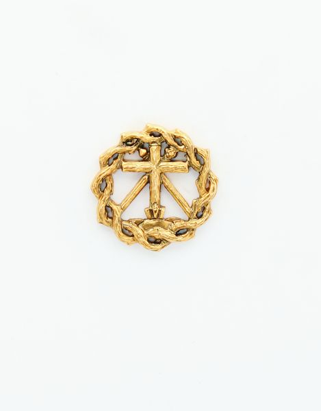 """HERALDRY religious insignia RELIEF """"LAUNCHES E CROSS CROWN OF THORNS swab 21 MM HEIGHT"""""""