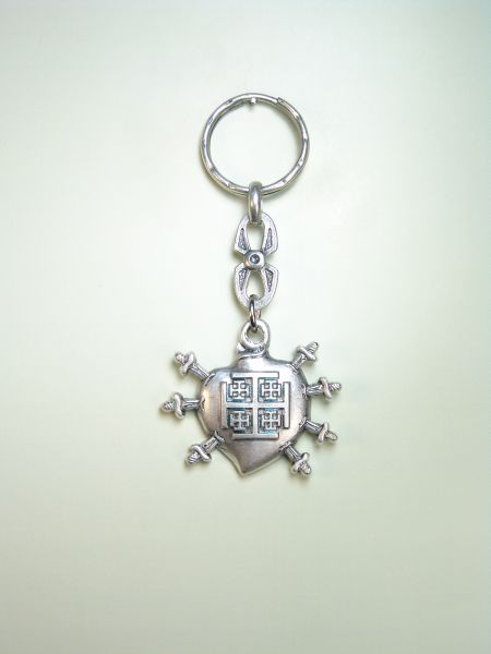 "RELIGIOUS KEYCHAINS HERLDICOS RELIEVE ""SANTA CRUZ heart of Jerusalem ON WITH 7 PUALES"""