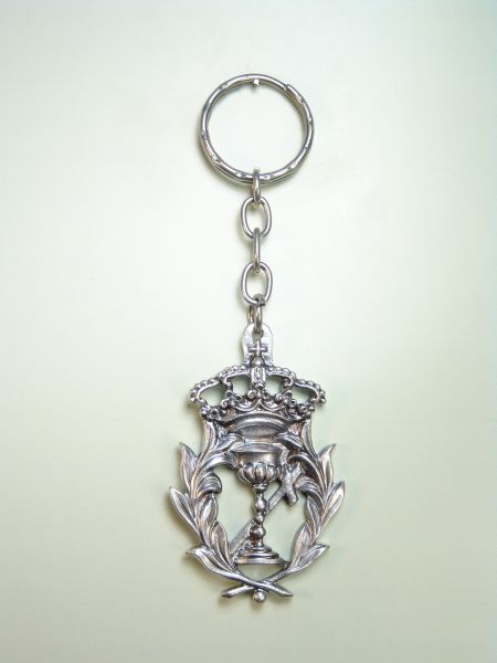 "RELIGIOUS KEYCHAINS HERLDICOS RELIEVE ""Holy Eucharist fringed with palms and CORONA"""