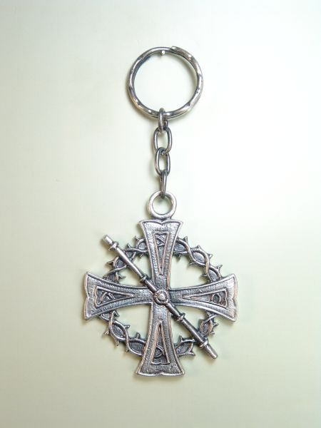 "RELIGIOUS KEYCHAINS HERLDICOS RELIEVE ""CROWN OF THORNS ON CAAY CRUZ DE MALTA"""