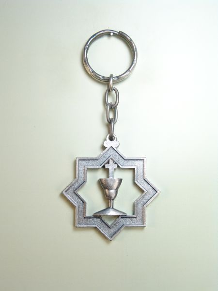 "RELIGIOUS KEYCHAINS HERLDICOS RELIEVE ""chalice ON DOUBLE 8 pointed star"""