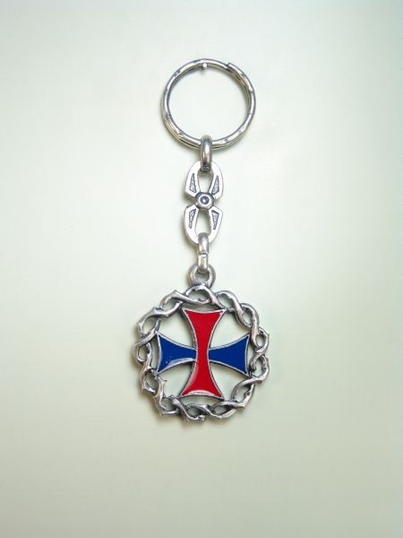 "RELIGIOUS KEYCHAINS HERLDICOS RELIEVE ""TRINITARIA ENAMELLED CROSS WITH CROWN OF THORNS ORLA"""