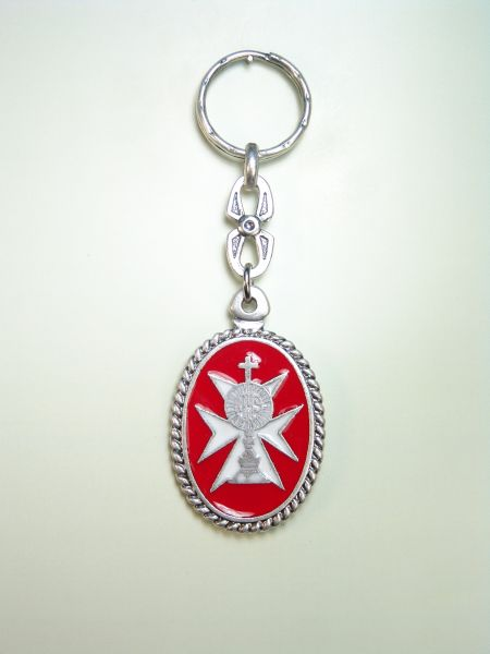 "RELIGIOUS KEYCHAINS HERLDICOS RELIEVE ""MALTESE CROSS ON CUSTODY GLAZED MOD CORDN"""