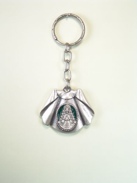 """RELIGIOUS KEYCHAINS WITH NAIL """"Virgen del Rocío ON CAPOTE TORERO one colored enamel"""""""
