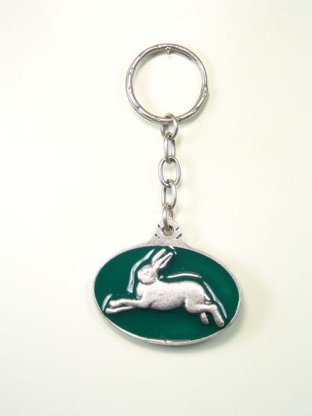 """SOUVENIRS KEYCHAIN hunts """"RABBIT JUMPING ON OVAL WITH 1 ORLA colored enamel"""""""
