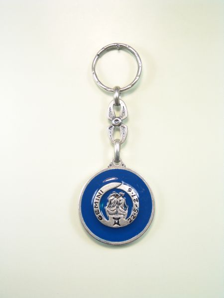 "SOUVENIRS KEYCHAIN ​​HOROSCOPES AND INITIALS ""GEMINI COLOR ENAMEL CIRCULAR 1"""