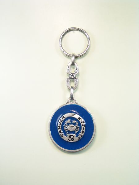 "SOUVENIRS KEYCHAIN ​​HOROSCOPES AND INITIALS ""CANCER CIRCULAR 1 colored enamel"""