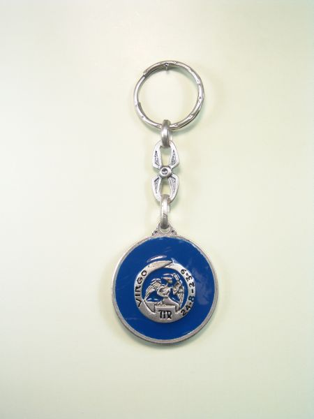 "SOUVENIRS KEYCHAIN ​​HOROSCOPES AND INITIALS ""VIRGO CIRCULAR 1 colored enamel"""