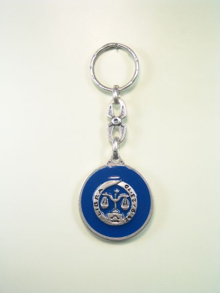 "SOUVENIRS KEYCHAIN ​​HOROSCOPES AND INITIALS ""LIBRA CIRCULAR 1 colored enamel"""