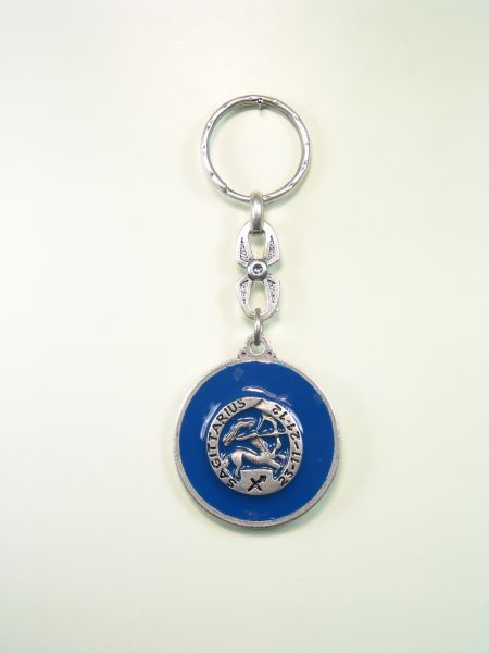 "SOUVENIRS KEYCHAIN ​​HOROSCOPES AND INITIALS ""SAGITTARIUS CIRCULAR 1 colored enamel"""