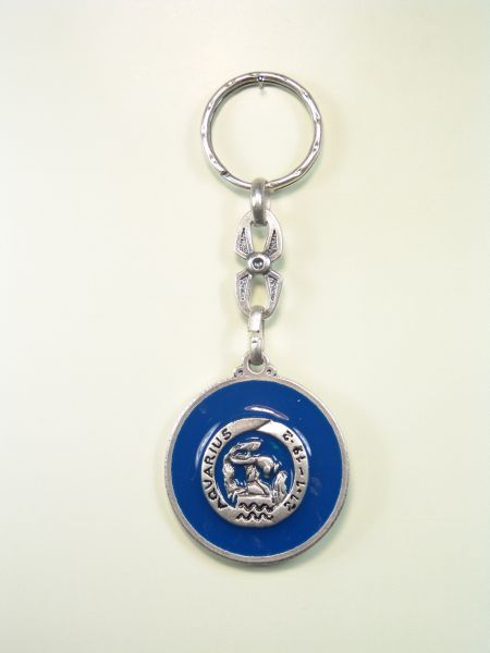 "SOUVENIRS KEYCHAIN ​​HOROSCOPES AND INITIALS ""AQUARIUS CIRCULAR 1 colored enamel"""