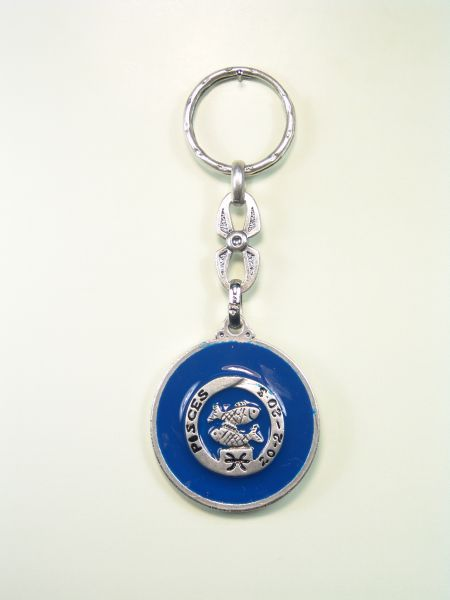 "SOUVENIRS KEYCHAIN ​​HOROSCOPES AND INITIALS ""PISCES CIRCULAR 1 colored enamel"""
