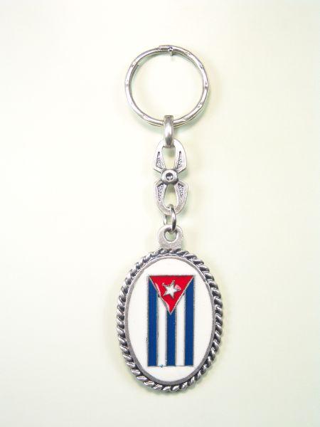 """SOUVENIRS KEYCHAIN MONUMENTAL """"CUBA FLAG ENAMEL TWO COLOR GRAVURE"""""""