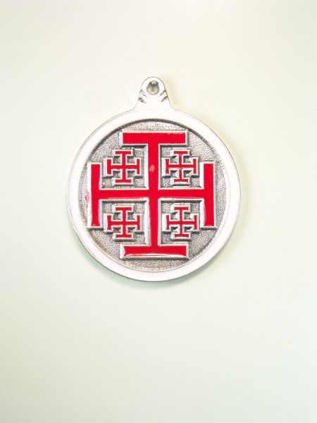 "RELIGIOUS MEDALS ENAMEL COLOR ""Jerusalem Cross GRAVURE ORLA CIRCULAR ON WITH 2 COLORS"""