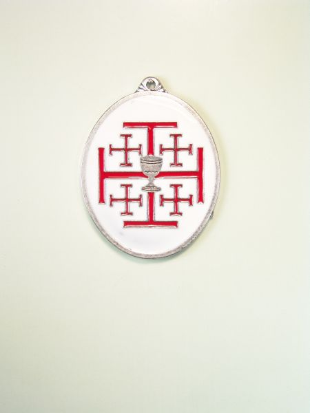 "RELIGIOUS MEDALS ENAMEL COLOR ""GOBLET JERUSALEM CROSS OVER TO ORLA OVAL ENAMELLED TWO COLORS"""