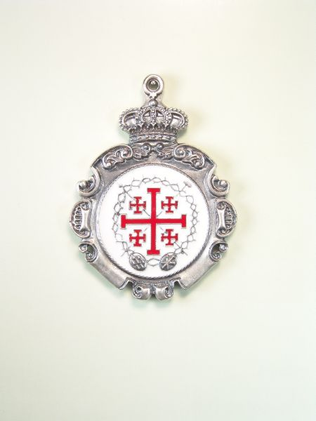 "RELIGIOUS MEDALS ENAMEL COLOR ""Jerusalem cross and crown of thorns WITH CROWN stamped ORLA REAL RELIEF WITH TWO COLORS NAIL"""