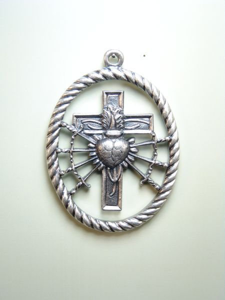 """HERLDICAS religious medals RELIEVE """"HEART PAIN WITH 7 PUALES ORLA AMERICA ON CROSS OVAL CORD 70 MM"""""""