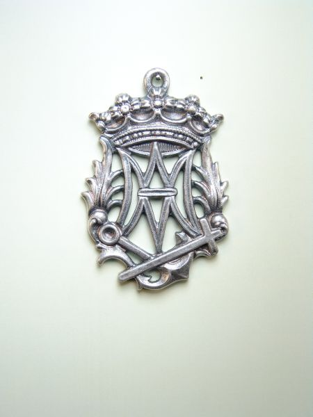 """HERLDICAS religious medals RELIEVE """"AVE MARIA CRUZ PALMA ANCHOR AND 60 MM"""""""