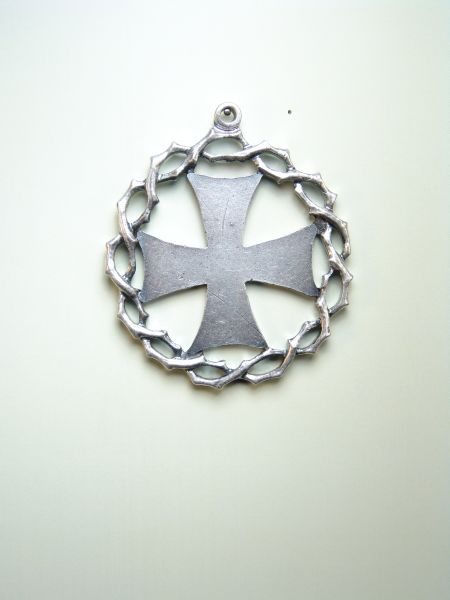 """HERLDICAS religious medals RELIEVE """"FLAT WITH MALTESE CROSS OF THORNS ORLA 55 MM"""""""
