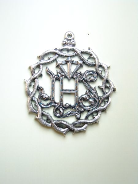 """HERLDICAS religious medals RELIEVE """"NAME OF JESUS WITH CROWN WITH DEPTH AND NAILS 60MM CROWN OF THORNS"""""""
