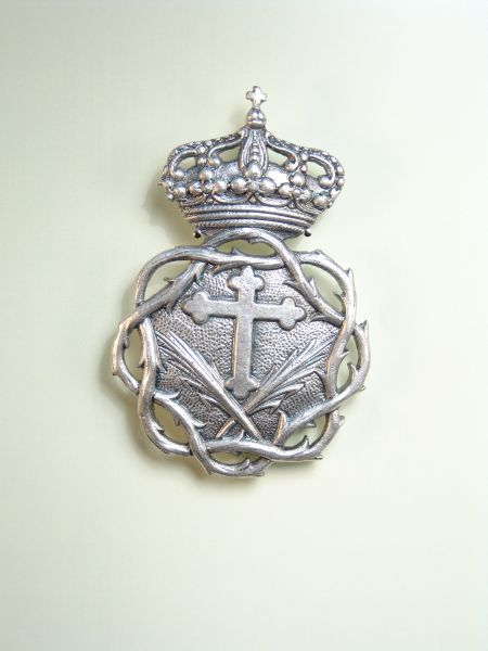 """HERLDICAS religious medals RELIEVE """"Latin cross POMETEADA ORLA CROWN OF THORNS OF REAL 75 MM stamped"""""""