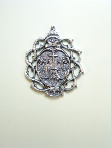"""HERLDICAS religious medals RELIEVE """"NAME OF JESUS CROWN OF THORNS ON 55 MM"""""""