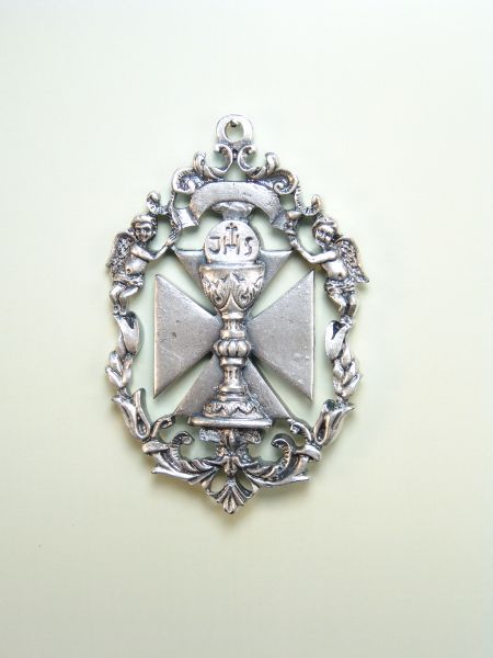 "HERLDICAS religious medals RELIEVE ""CHALICE SACRAMENTAL MALTESE CROSS ON BAROQUE ORLA CALADA 70 MM"""