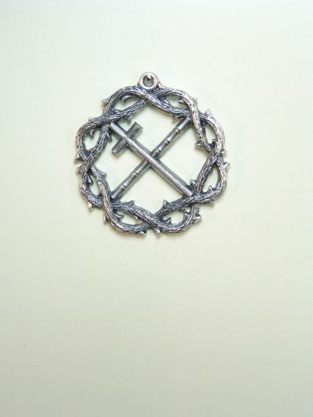 """HERLDICAS religious medals RELIEVE """"CAA CROSS WITH CROWN OF THORNS fringed with 45 MM"""""""