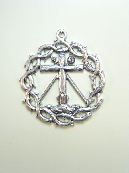 """HERLDICAS religious medals RELIEVE """"Arbolea ON MOUNT CALVARY CROSS CROSS LAUNCHES AND SPONGE WITH CROWN OF THORNS 60 MM"""""""