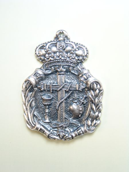 """HERLDICAS religious medals RELIEVE """"Latin cross chalice and SDO TIED WITH HEART OF PAIN 75 MM"""""""