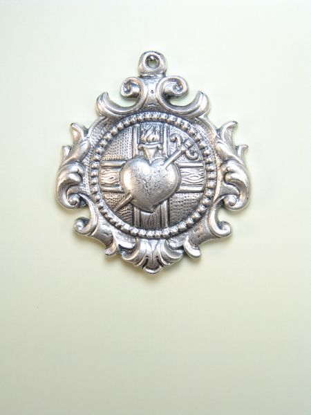 """HERLDICAS religious medals RELIEF """"A PUAL heart pierced by pain over Greek cross acanthus leaf ORLA 60MM"""""""