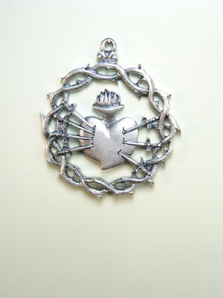 """HERLDICAS religious medals RELIEVE """"Sorrows of Mary CROWN OF THORNS ON 60 MM"""""""