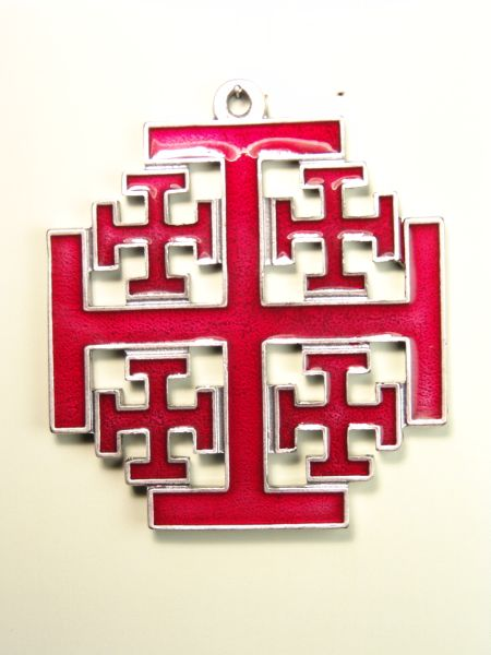 """HERLDICAS religious medals RELIEVE """"Holy Cross in Jerusalem silhouetted AND GLAZED COLOR 75 MM"""""""