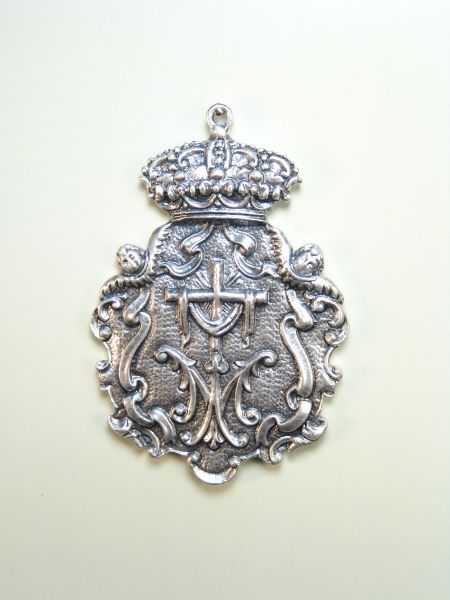 """HERLDICAS religious medals RELIEVE """"AVE MARIA, CROSS WITH SHROUD bordered with scrolls and ANGELITOS HEADS 75 MM"""""""