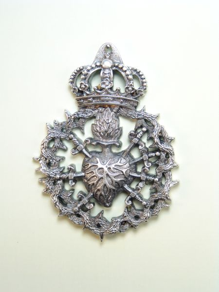"""HERLDICAS religious medals RELIEVE """"HEART PAIN WITH 7 PUALES 75 MM BAROQUE"""""""