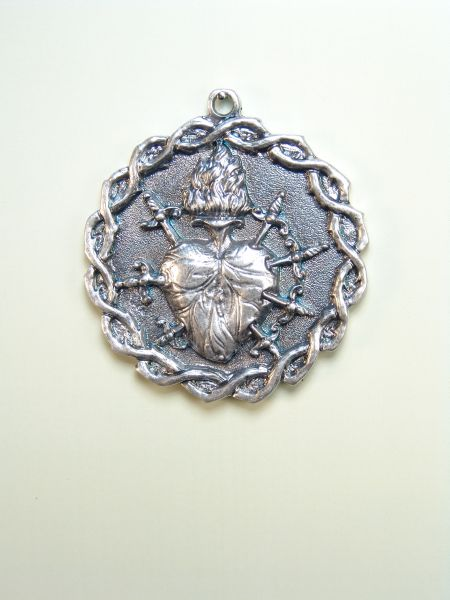 """HERLDICAS religious medals RELIEVE """"Crown of Thorns with SEVEN heart PUALES 55 MM"""""""