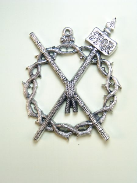 """HERLDICAS religious medals RELIEVE """"CROWN OF THORNS CROSS AND SPOR CAA 75 MM"""""""