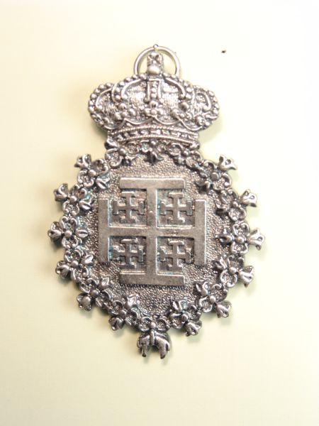 """HERLDICAS religious medals RELIEVE """"JERUSALEM CROSS WITH REAL SOLID TOISON 80 MM"""""""