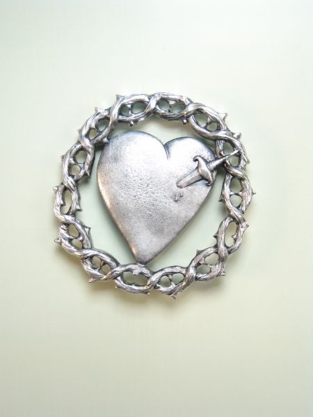 """HERLDICAS religious medals RELIEVE """"heart pierced by PUAL PAIN A CROWN OF THORNS WITH 65 MM"""""""
