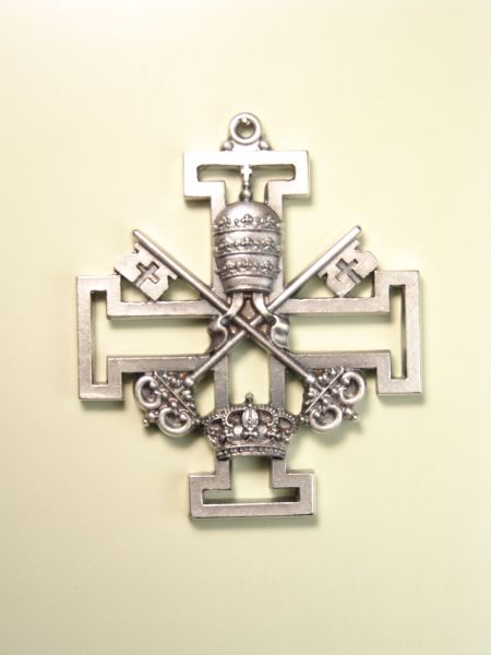"""HERLDICAS religious medals RELIEVE """"symbol and attribute REAL ON PAPAL CROSS GREEK Potent CALADA 70 MM"""""""