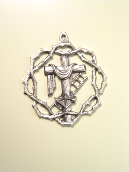 """HERLDICAS religious medals RELIEVE """"CROSS CROSS WITH SHROUD WITH LADDER AND ORLA NAILS 60MM CROWN OF THORNS"""""""